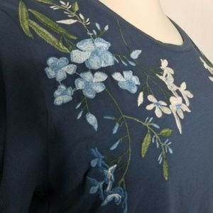 Style & Co Tops - Style & Co Blue Cotton Floral Embroidered T-Shirt
